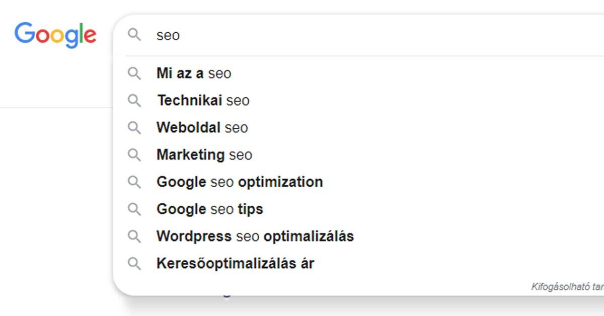Google keresősávja SEO-ra keresve.